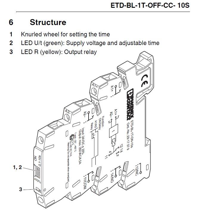 timer relay off delay etd-bl-1t-off-cc- 10s-pt