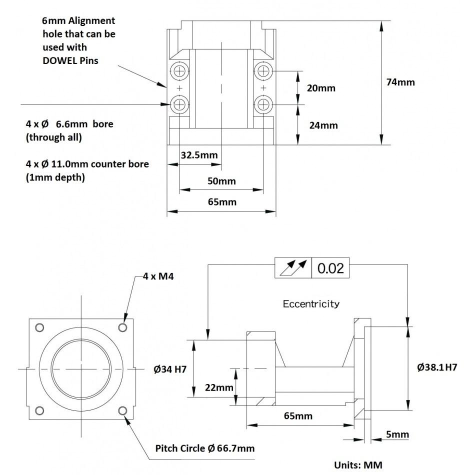 39534 nema 23 motor bracket mba10c dimensions 2d