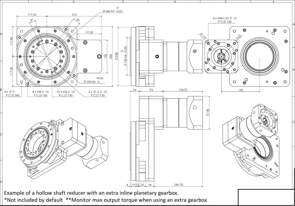 39874 hsr 230x230 mm 110 ratio flange for delta 1kw servo example extra gearbox