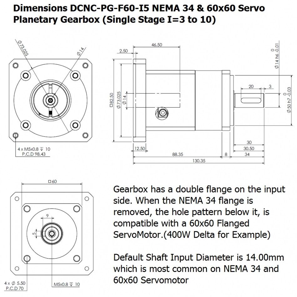39882 dcncpgf60s14f60n34b14i5 15 nema 34 60x60 servo planetary gearbox