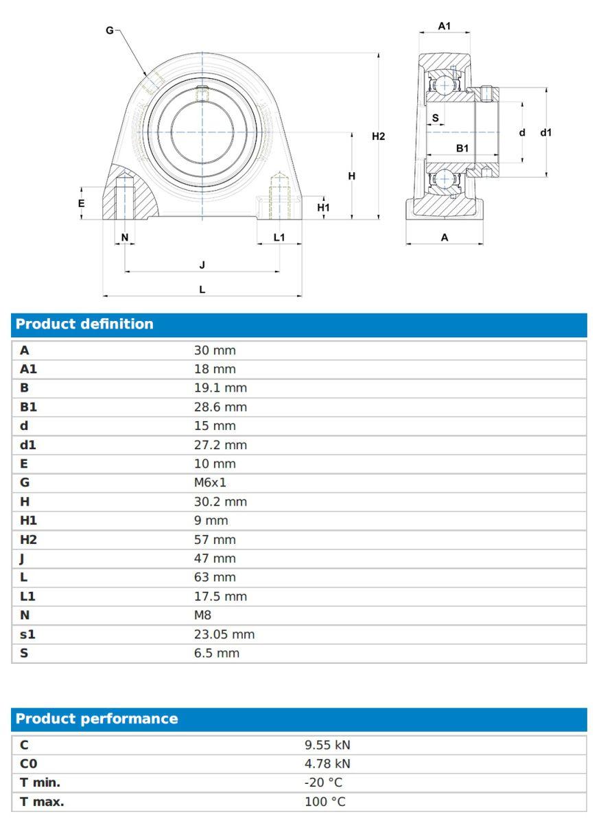 40552 espae202 snr bearing unit 15mm bore dimensions