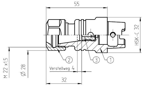 41533 guhring hsk32c toolholder er16 dimensions