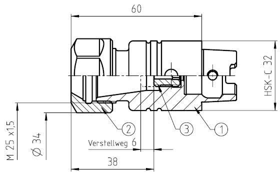 41542 guhring hsk32c toolholder er20 dimensions