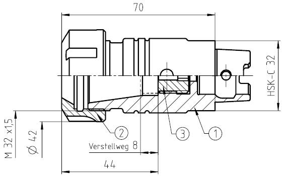 41554 guhring hsk32c toolholder er25 dimensions