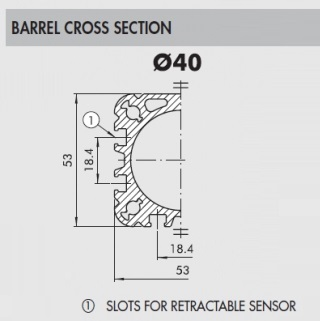 43123 121 a 40 0550 xp pneumatic cilinder iso15552 series a 14 40mm bore 550mm stroke cross section
