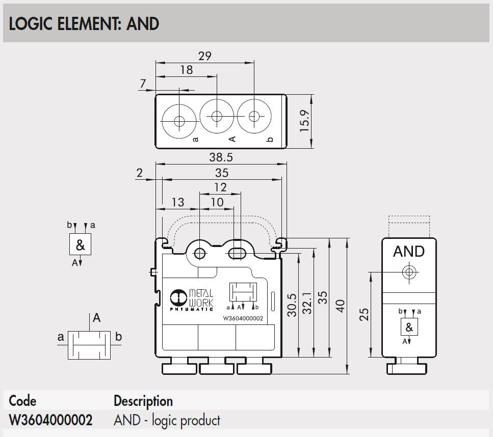 43722 w3604000002 and logic element 2d dimensions