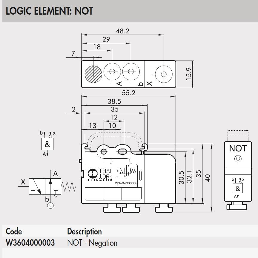 43732 w3604000003 not logic element dimensions