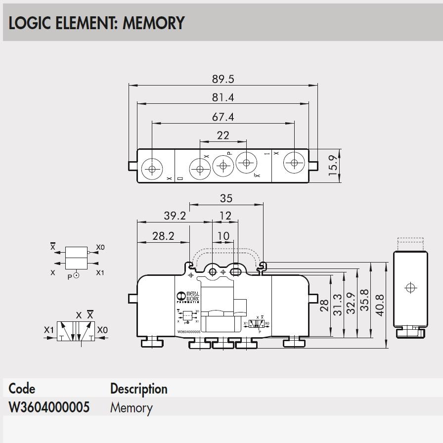 43752 w3604000005 memory logic element 2d dimensions