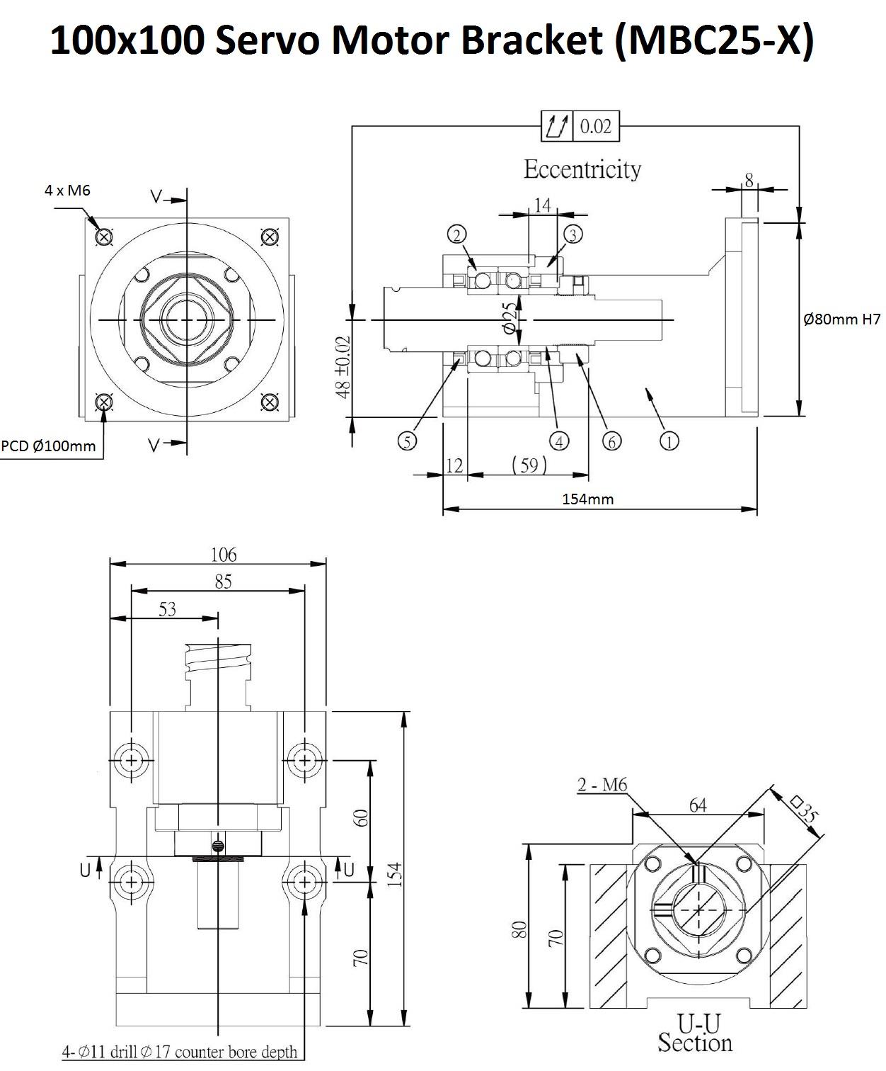 43855 100x100 servo motor bracket mbc25x 2d dimensions