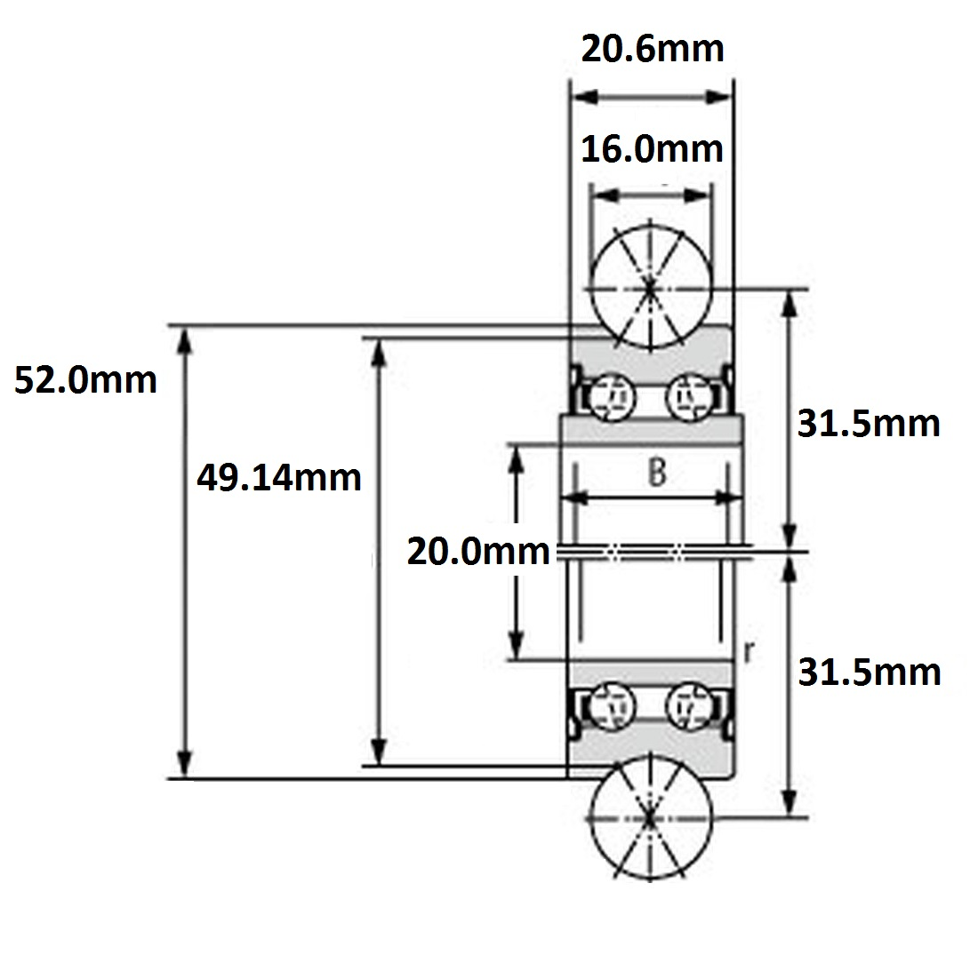 43882 lfr 5204202z 20x52x206 double row 16mm groove 2d dimensions
