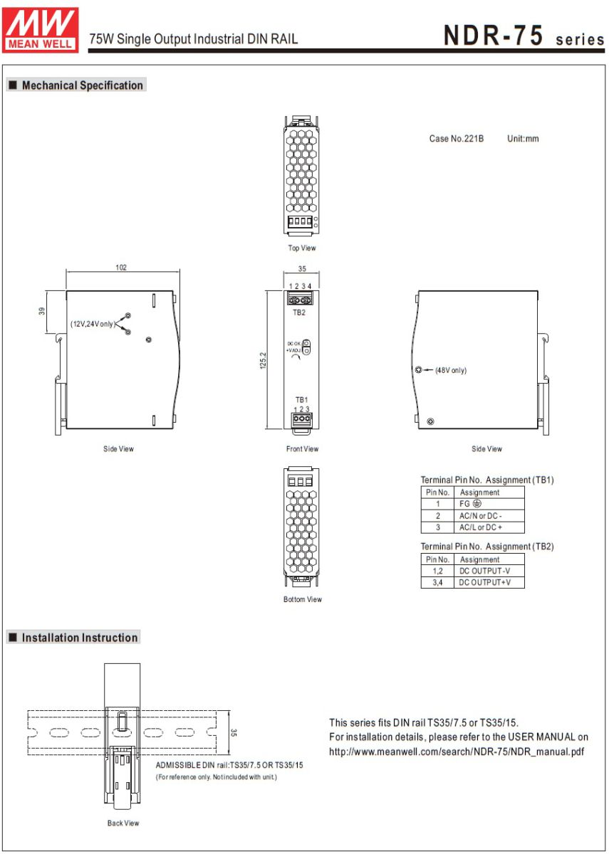 43915ndr7524 24vdc 75w din rail powersupply 2d dimensions