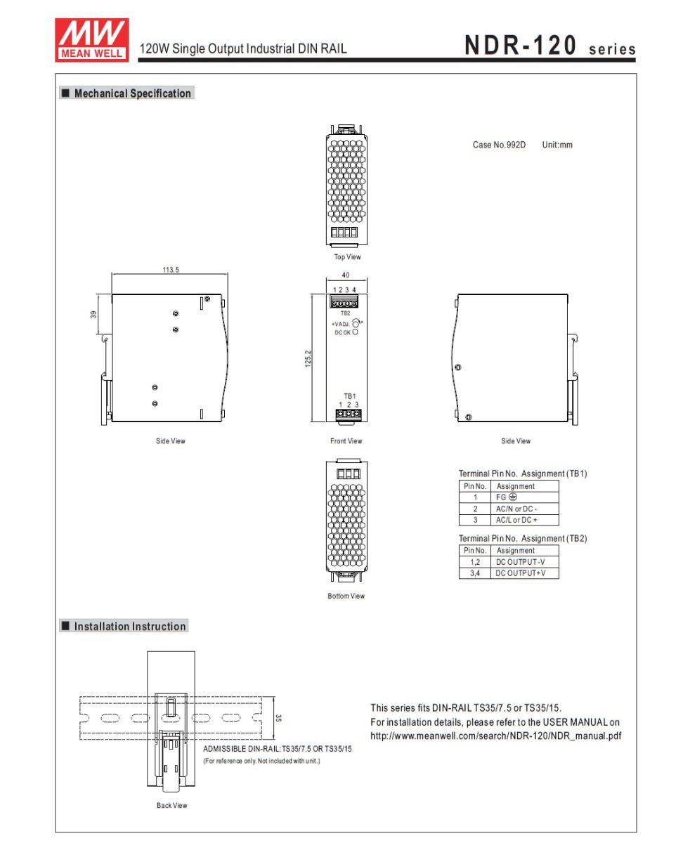 43955ndr12048 48vdc 120w din rail powersupply 2d dimensions