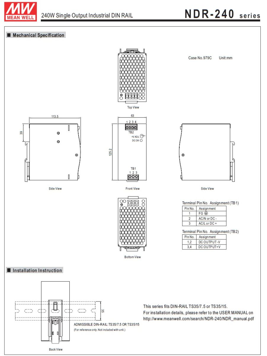 43965ndr24024 24vdc 120w din rail powersupply 2d dimensions