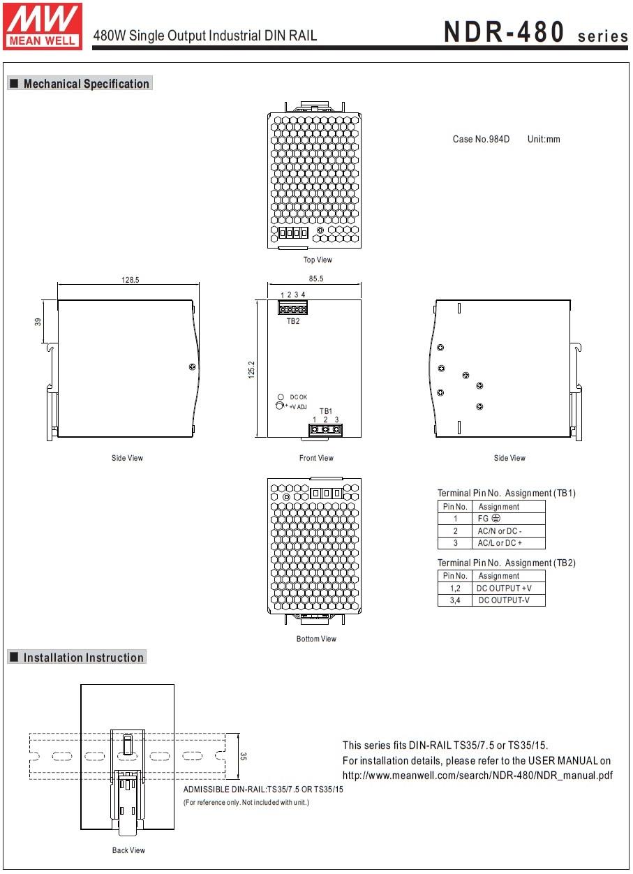 43985 mean well ndr48024 24vdc 480w din rail powersupply 2d dimensions