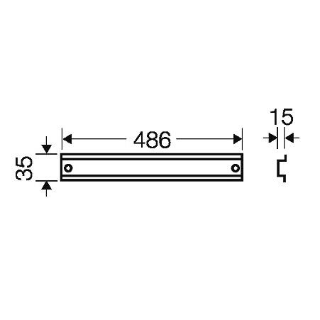 44352 fp ts 54 din rail 486mm length 2d dimensions