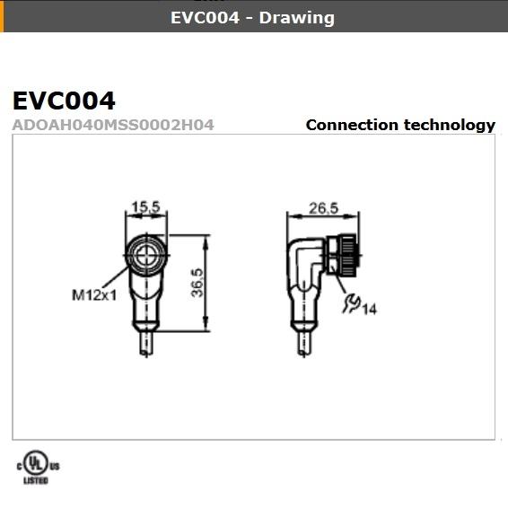 44583 evc086 angled female m12 4pole 15 meters