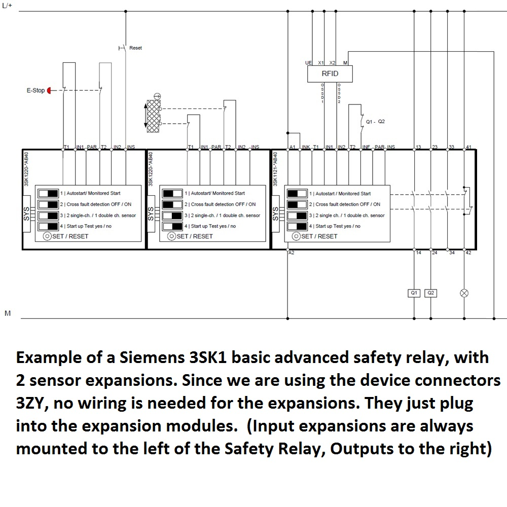 Siemens 3sk1121 1ab40 Safety Relay Basic Advanced Screw Type Diagram 4496 5 Example Of Input Expansion