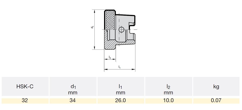 45152 hsk32c sealing plugs d134mm l126mm l210mm dimensions