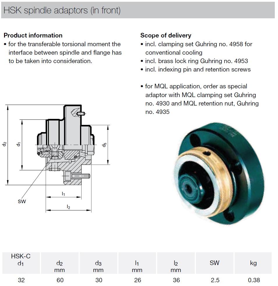 45162 hsk spindle adaptors in front hsk32c