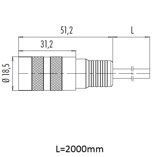 45214 2 meter electronics and oscillation motor cable for tct2 eot3 tcm4 connector dimensions