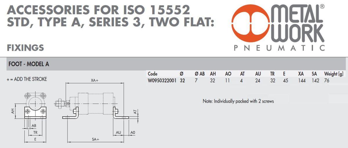 45482 w0950322001 foot model a 32 bore iso dimensions