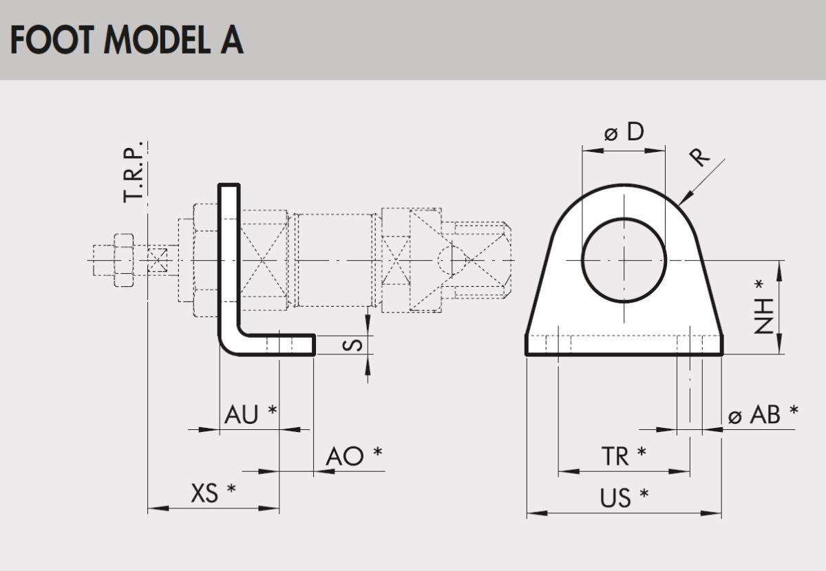 45501 w0950120001 foot model a 1216 bore iso6432