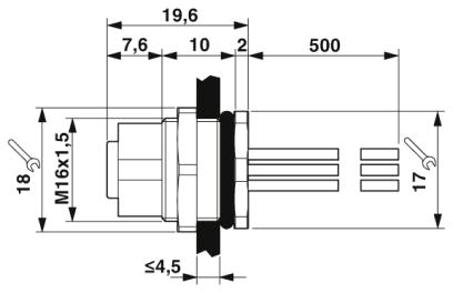 46362 m12 8 pole panel mount female with 50cm wiring dimensions
