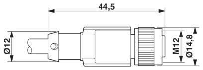 46392 m12 8 pole cable l3000mm female shielded with openend dimensions