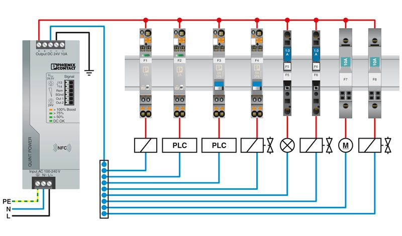 46816 thermomagnetic device circuit breaker cb tm1 1a sfb p 2800836 application example
