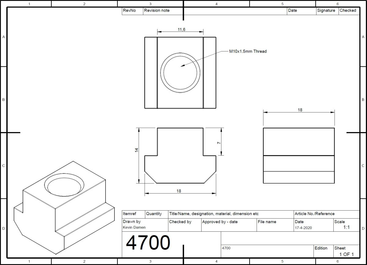 47002 m10 tnut l18mm din508 for tslot12mm wide 2d dimensions