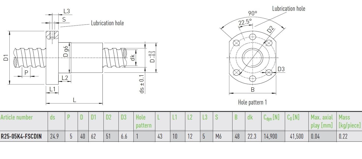 47062 hiwin ballnut r2505k4fscdin dimensions