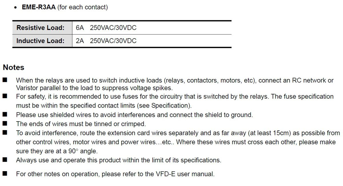 47075 delta 3xrelay card for the vfde emer3aa specs and notes