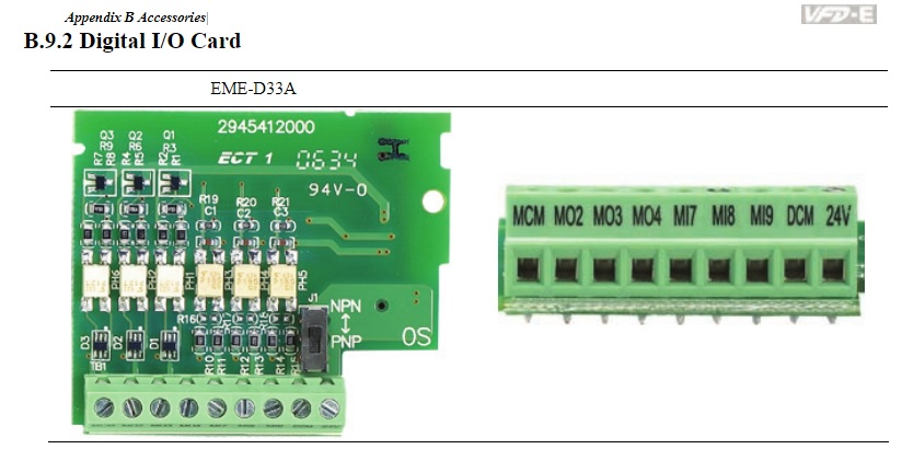 47083 delta io card for the vfde emed33a pin numbering