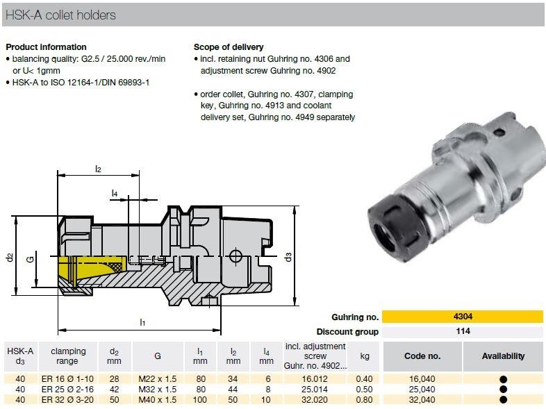 47192 guhring hsk40a toolholder er32 4304