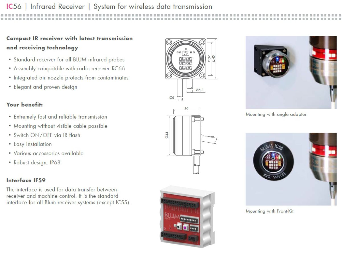 47304 ir receiver set ic56 interface if59 mounting bracket data