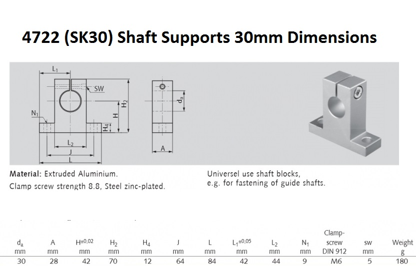 47442 sk30 shaft supports 30mm dimensions