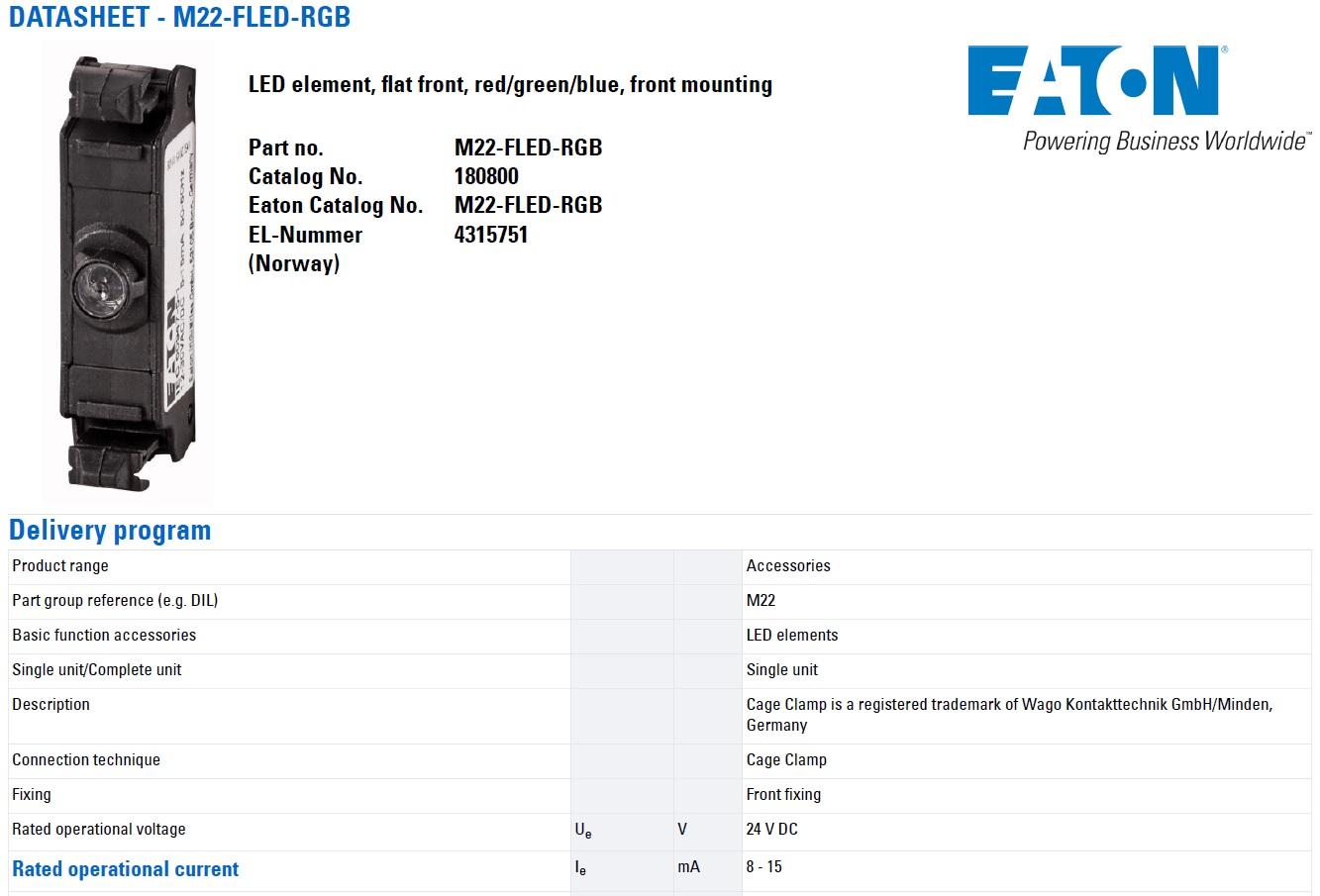 47534 eaton moeller m22fledrgb red green blue datasheet