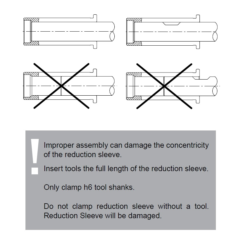 47605 hs 12 316 476mm reduction sleeve for etp toolholders