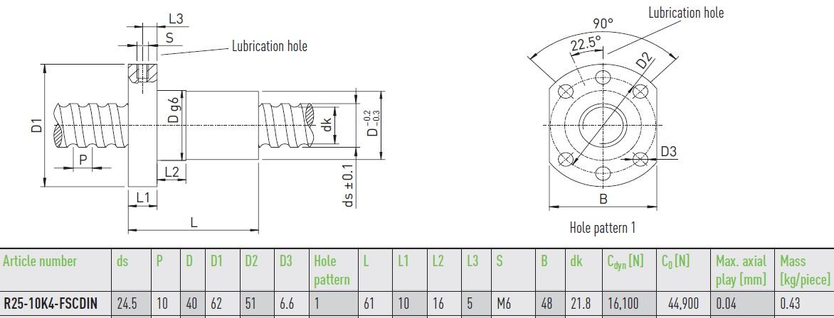 48102 hiwin ballnut r2510k4fscdin dimensions
