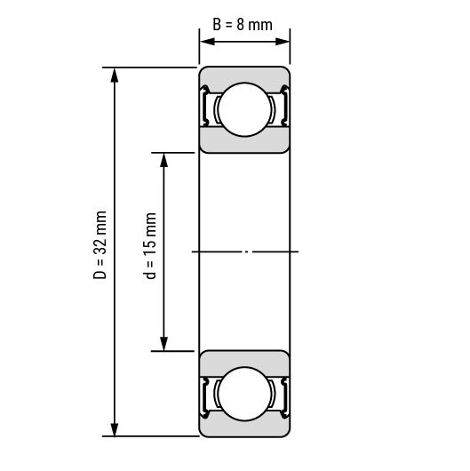 48761 groove ball bearings 16002 2rs 15x32x8mm dimensions