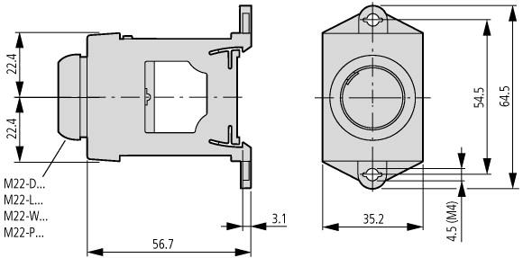 48772 eaton moeller m22ivs m22 dinrail adapter216400 dimensions