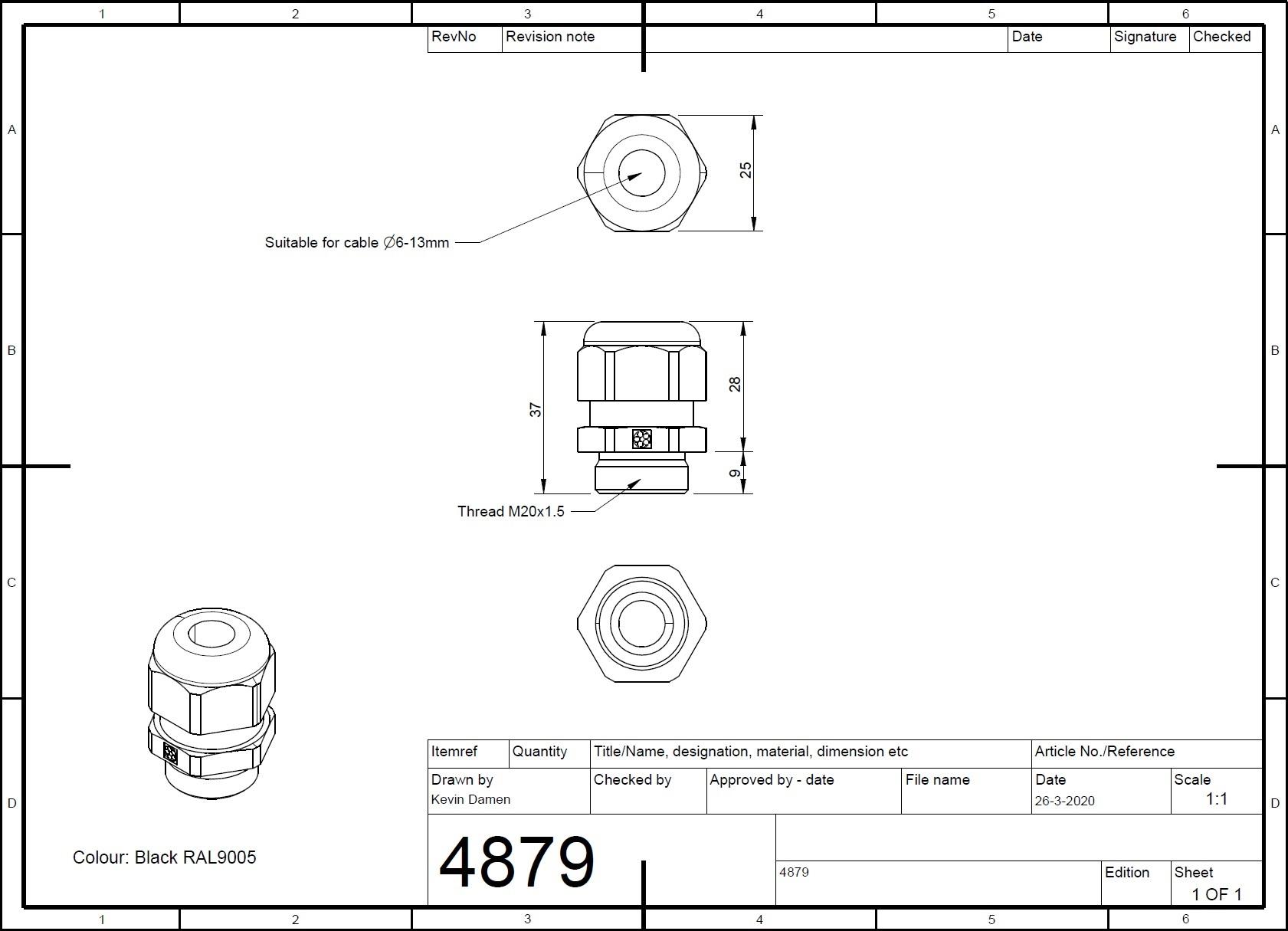 48793 cable gland m20x15 black 2d dimensions