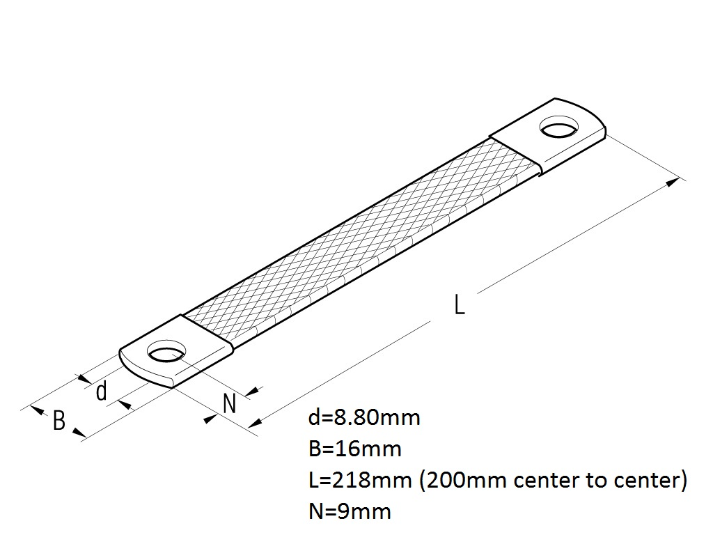 48803 earthing strap m8 25mm x 200mm 2412225 dimensions