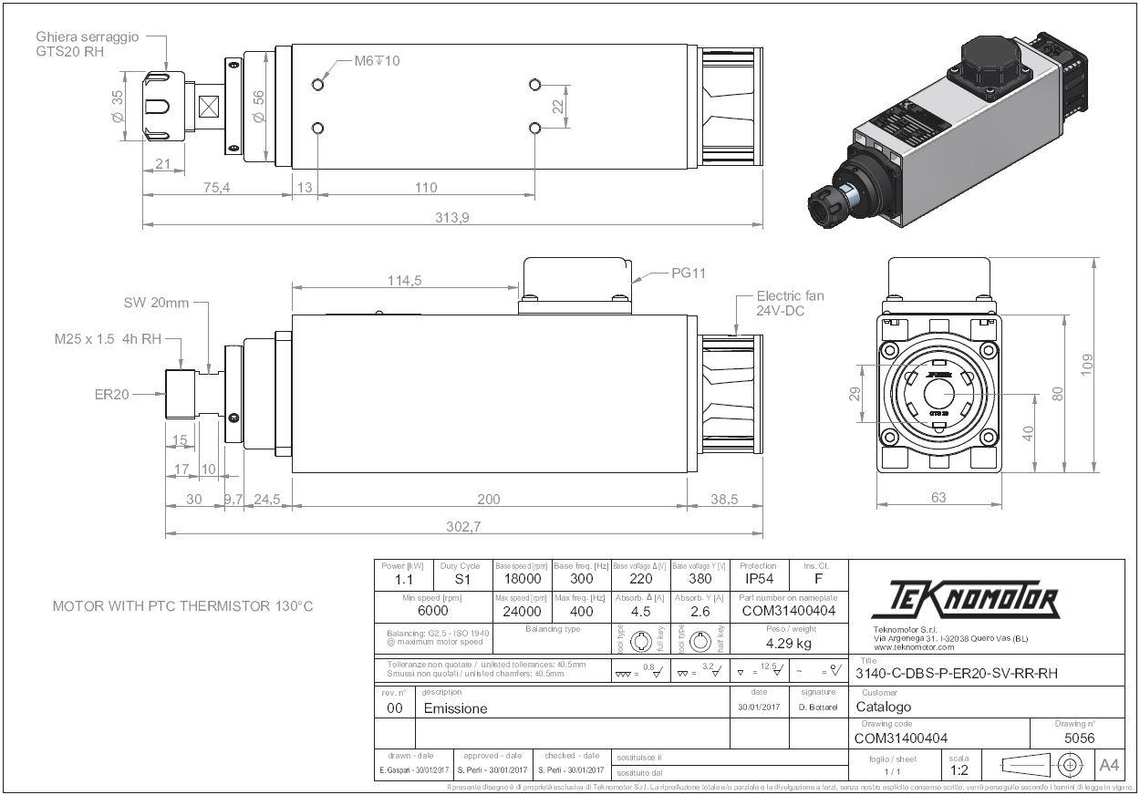 49032 electrospindelfan c3140cdbsper20sv11kw1800024000rpm com31400404