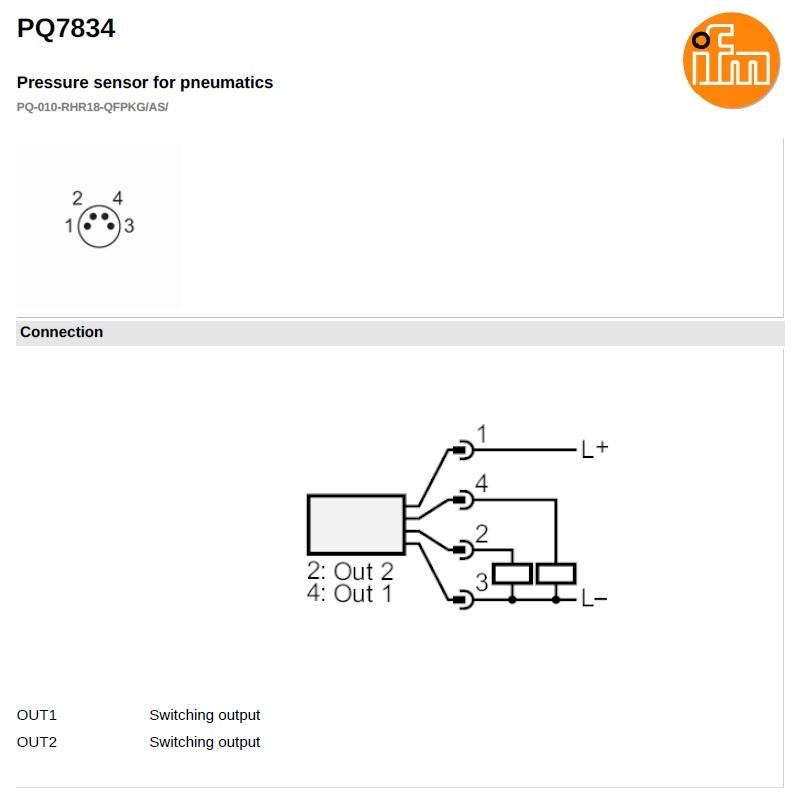 49063 pq7834 electronic pressure sensor 1 to 10bar 2 outputs wiring