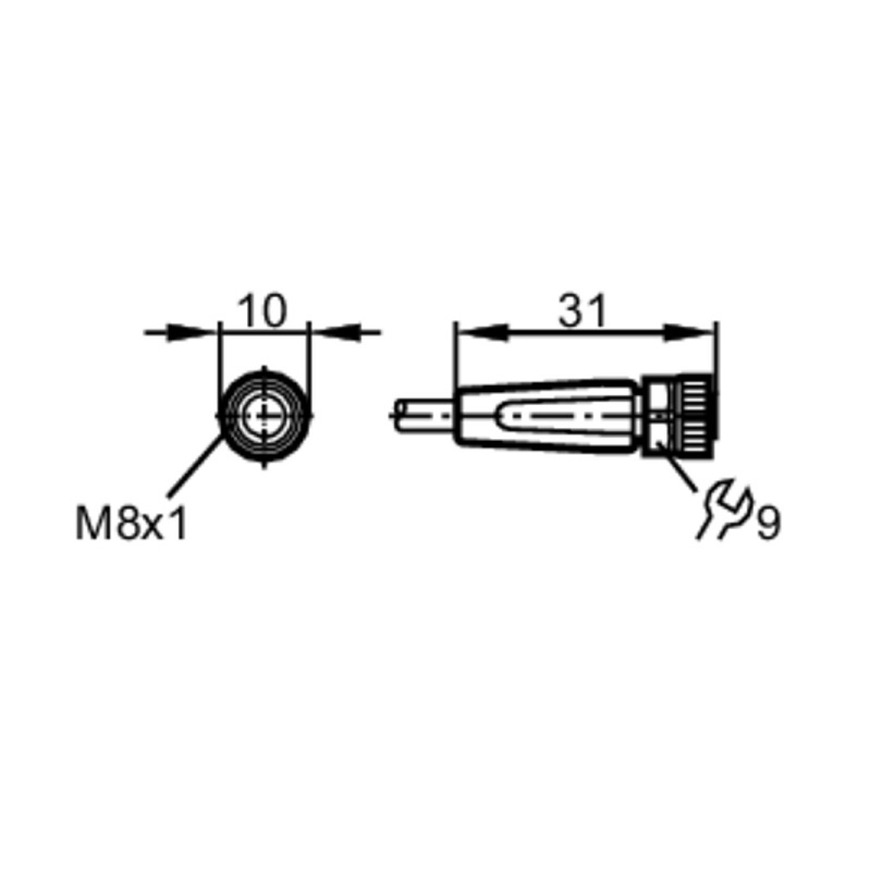 49072 evc150 straight female m8 4pole 2meters dimensions