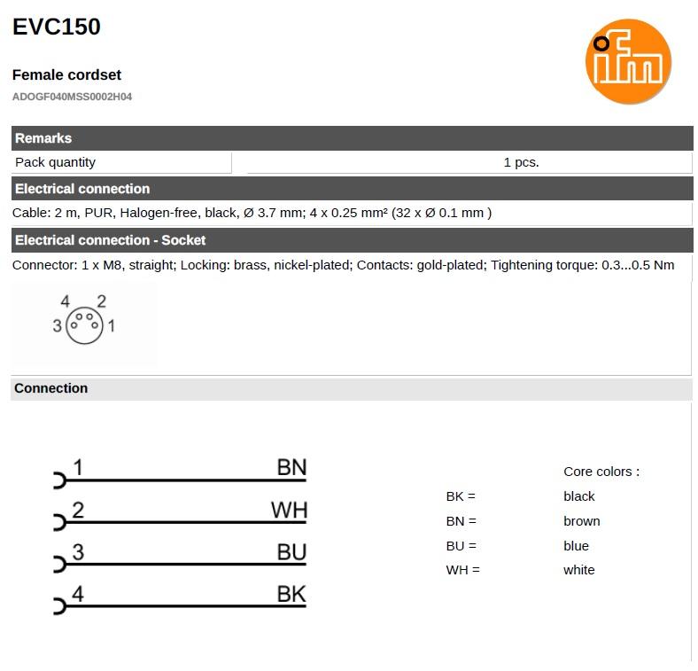 49073 evc150 straight female m8 4pole 2meters wiring
