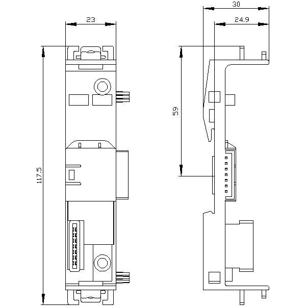 49092 siemens 3zy12122ba00 device connector leftmiddle dimensions