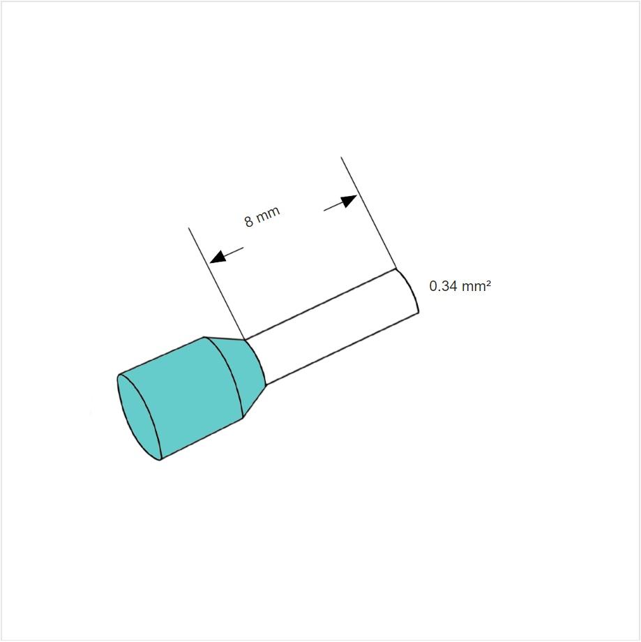 49231 ferrules aderhuls turquoise 034mm l8mm