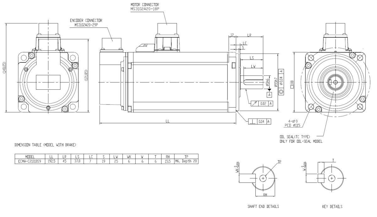 49372 ac servo motor 1000w with brake ecmac21010s9 shaft 19mm 2d dimensions